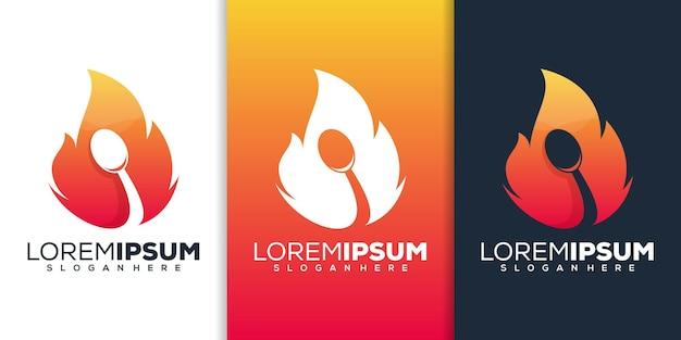 Огонь с ложкой дизайн логотипа