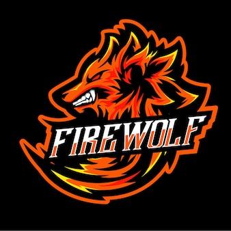 Fire wolf vector template. illustration of fire wolf esport logo design