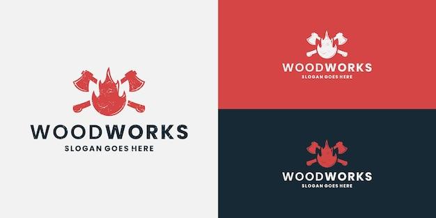 火の木工ロゴデザイン木こり、斧、ウッドマン