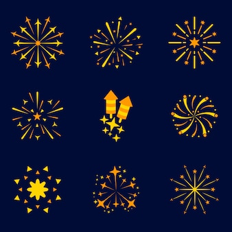 Fire work icon set, logo pack