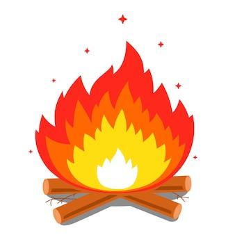 大きな炎とfireでたき火。フラットのベクトル図