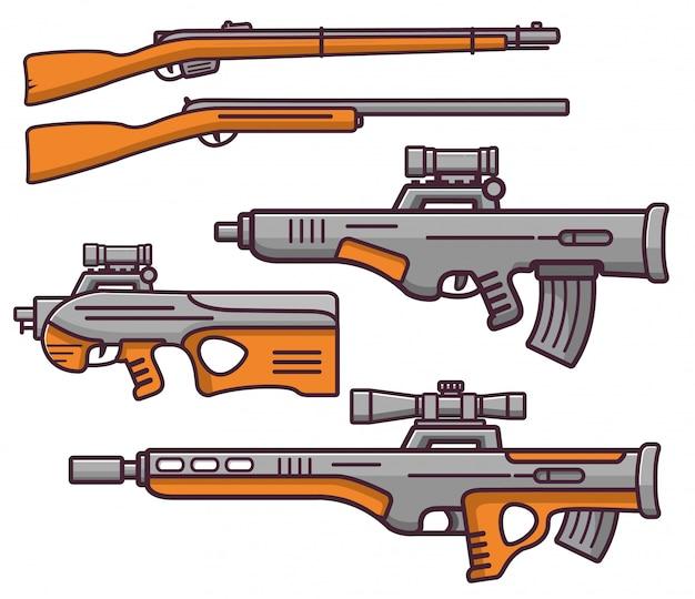 銃器狙撃ライフル、武器銃、ショットガン。 Premiumベクター