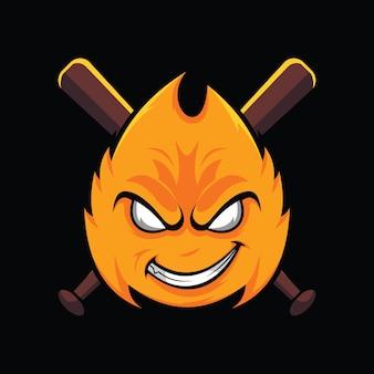 Fireball baseball vector illustration