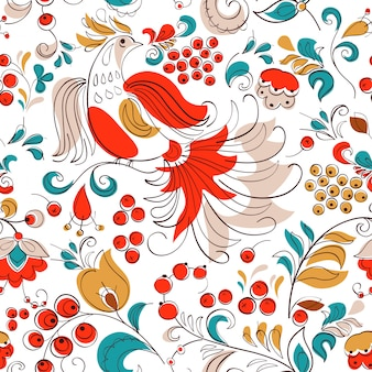 Firebird and currant in russian fantasy style