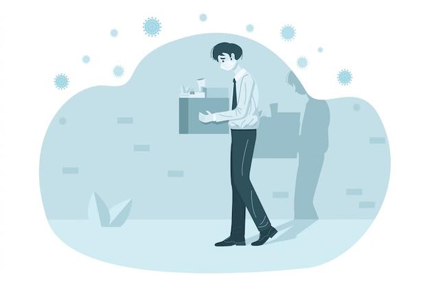 Уволен бизнесмен, держа коробку, полную его вещи. иллюстрация
