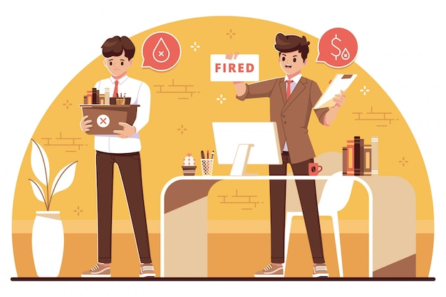 Fired employee concept flat design illustration