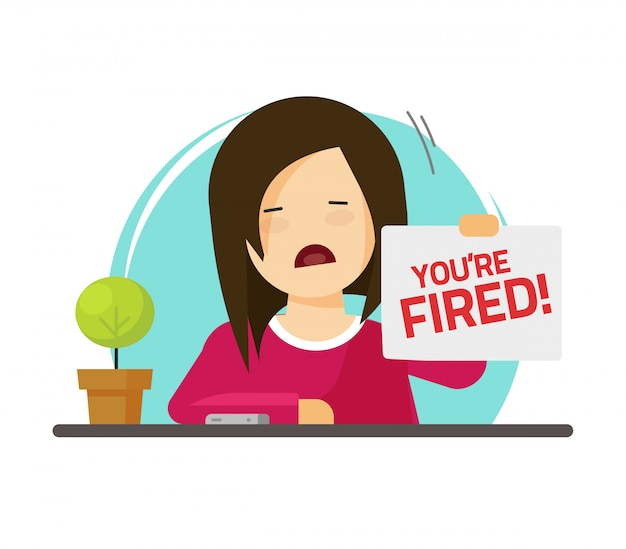 Fired from job sad person illustration