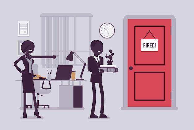 해고된 남자와 화난 여자 상사. 무능한 직원에게 문을 보여주는 소년을 제거하는 관리자는 직장에서 남성 직원을 해고하고 사무실을 떠나는 사람입니다. 벡터 일러스트 레이 션, 얼굴 없는 문자