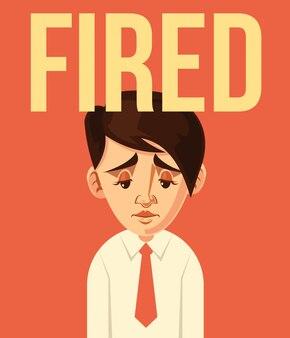 Fired office worker character.  flat cartoon