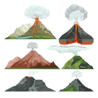 마그마와 뜨거운 용암으로 화산 산을 발사했습니다. 먼지 구름 벡터 세트와 화산 폭발 용암과 화산, 뜨거운 마그마 일러스트와 함께 산 바위 화산