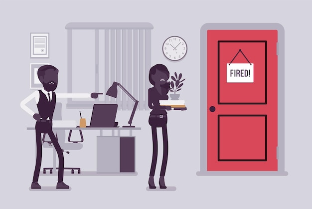 Уволенная женщина и сердитый босс-мужчина. менеджер удаляет девушку, показывая некомпетентному работнику дверь, увольняет сотрудницу с работы, женщина покидает рабочее место. векторная иллюстрация, безликие персонажи