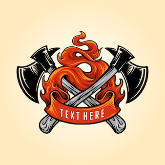 Firefighter axe fire logo иллюстрации
