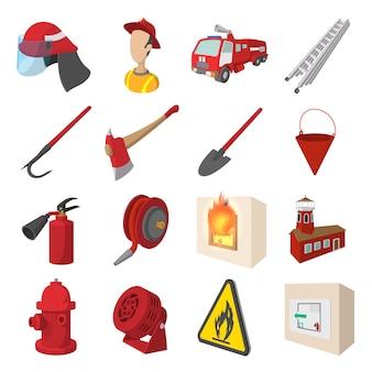 Пожарный мультфильм иконки набор изолированных