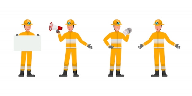 Firefighter character. presentation in various action. no2