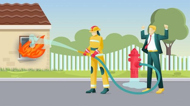 消防士のキャラクターが家を燃やして