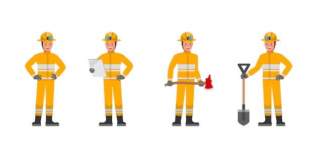 消防士のキャラクターセット。さまざまなアクションでのプレゼンテーション