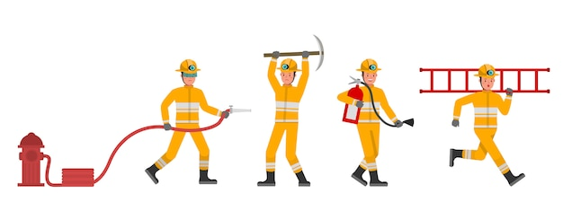 Firefighter character set  . presentation in various action.