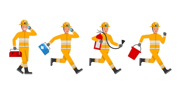 Firefighter character set. presentation in various action