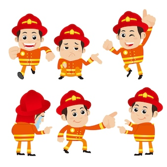 Firefighter characters in different poses