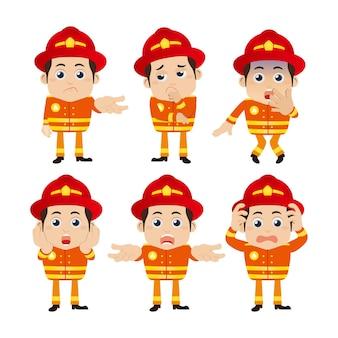Персонажи пожарных в разных позах