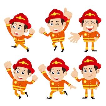 さまざまなポーズの消防士のキャラクター