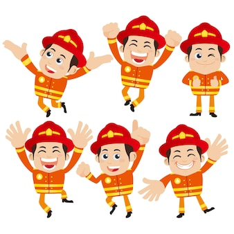 Firefighter characters with different poses