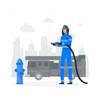 Иллюстрация концепции пожарного