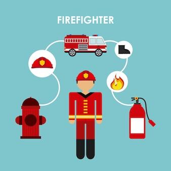Firefighter design Premium Vector