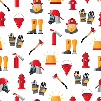 Firefighter elements seamless pattern on white