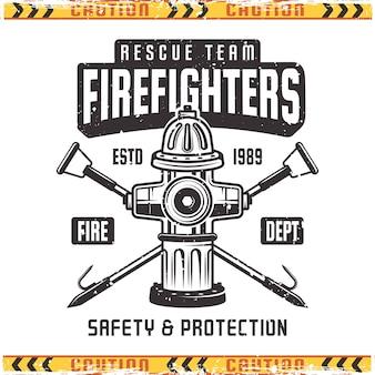 Эмблема пожарный с пожарным гидрантом в винтажном стиле изолированы