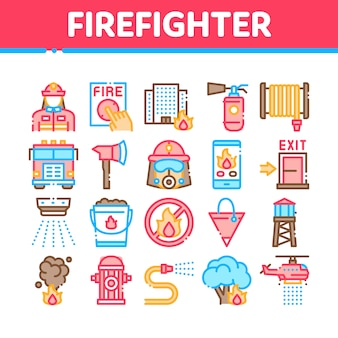 Firefighter equipment collection icons set