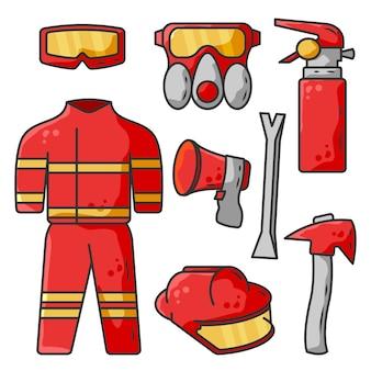 Пожарное оборудование векторные иллюстрации шаржа