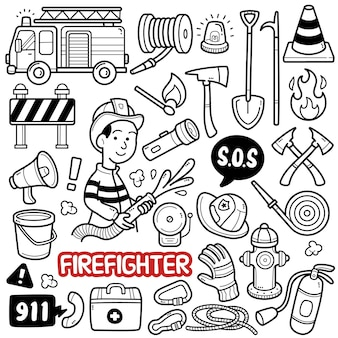 Firefighter equipments black and white doodle illustration