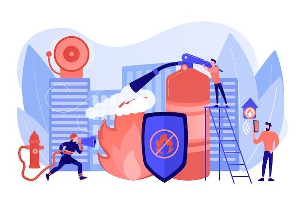 Пожарный тушит характер пламени. спасатель опасной работы. противопожарная защита, противопожарные технологии, концепция противопожарных служб. розовый коралловый синий вектор изолированных иллюстрация