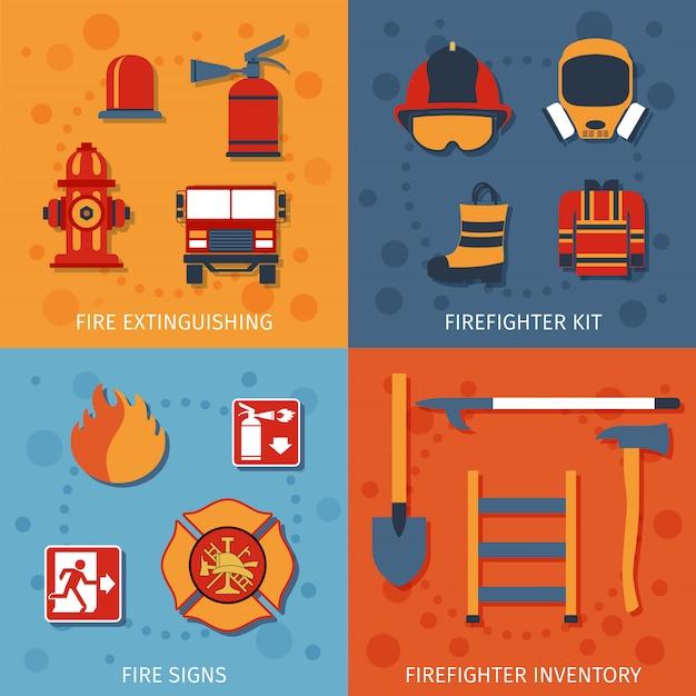 Firefighter flat set