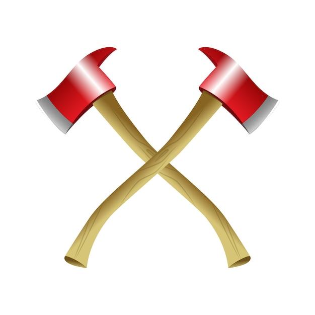 Топорики пожарных - реалистичные векторные изолированные объекты на белом фоне. деревянные красные инструменты. качественные картинки для презентаций, баннеры, наглядные пособия, инструкции