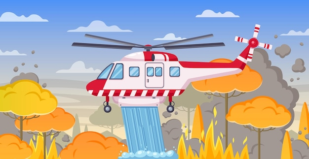 Firefighter helicopter on forest landscape and burning trees illustration