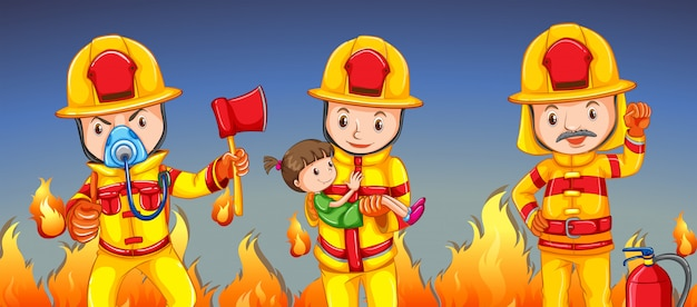 Firefighter helping a girl