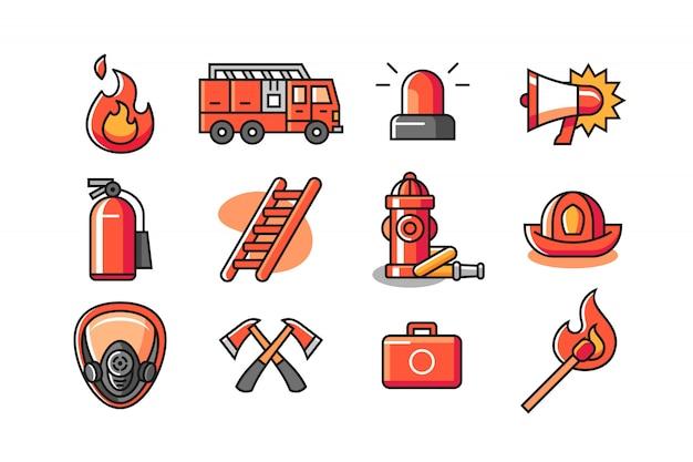Firefighter icon set Premium Vector