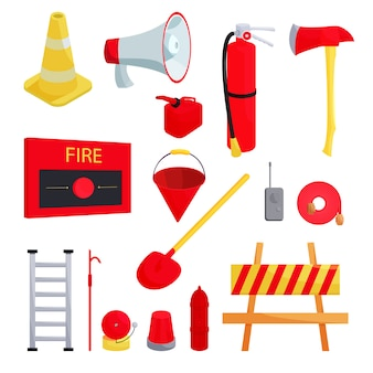 Firefighter icons set, cartoon style