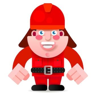 Пожарный в традиционной форме. плоский дизайн персонажей из мультфильма. векторные иллюстрации, изолированные на белом фоне.