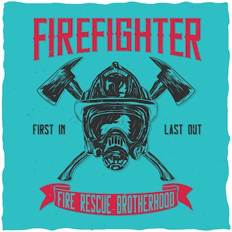 Firefighter label design with illustration of helmet with crossed axes