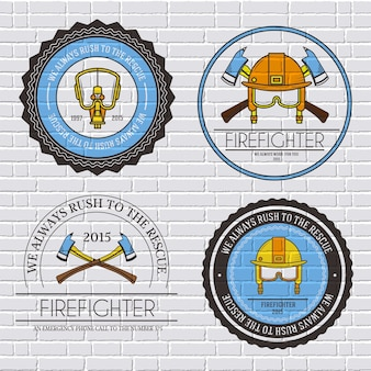 Firefighter label template of emblem element for your product or design, web and mobile with text.