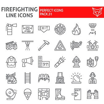 Firefighter line icon set, fireman collection