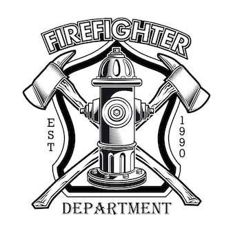 Firefighter logo with hydrant vector illustration. crossed axes and fire dept text
