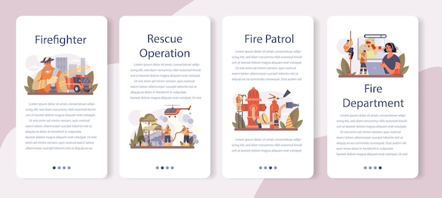 Firefighter mobile application banner set