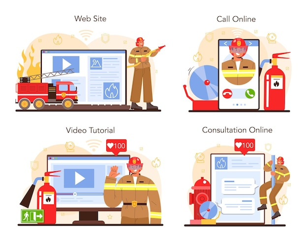 Firefighter online service or platform set. fire brigade fighting with flame. fire department worker holding a hydrant hose. online consultation, call, video tutorial, website. vector illustration