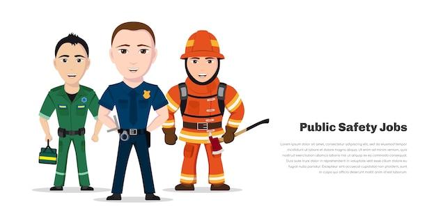 소방관, 구급대 원 및 경찰. 긴급 서비스 전문가, 흰색 바탕에 공공 안전 작업자 문자.