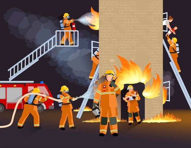 Firefighter people design concept