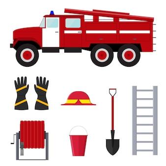 消防士の職業設備およびツール。フラットなデザインスタイル。